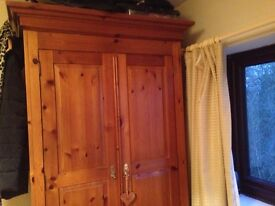 LARGE Antique(?) Quality Pine Wardrobe - with drawer