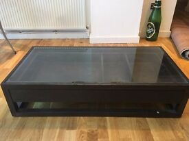 Dark wood + glass coffee table with pull out drawer