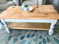 Lovely Kerrie's Pine Chunky Coffee Table Painted in Cotswold Lundy RRP£225