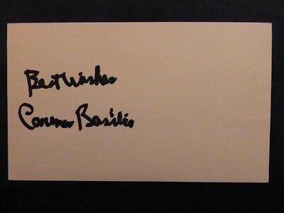 Carmen Basilio Signed Index Card with COA