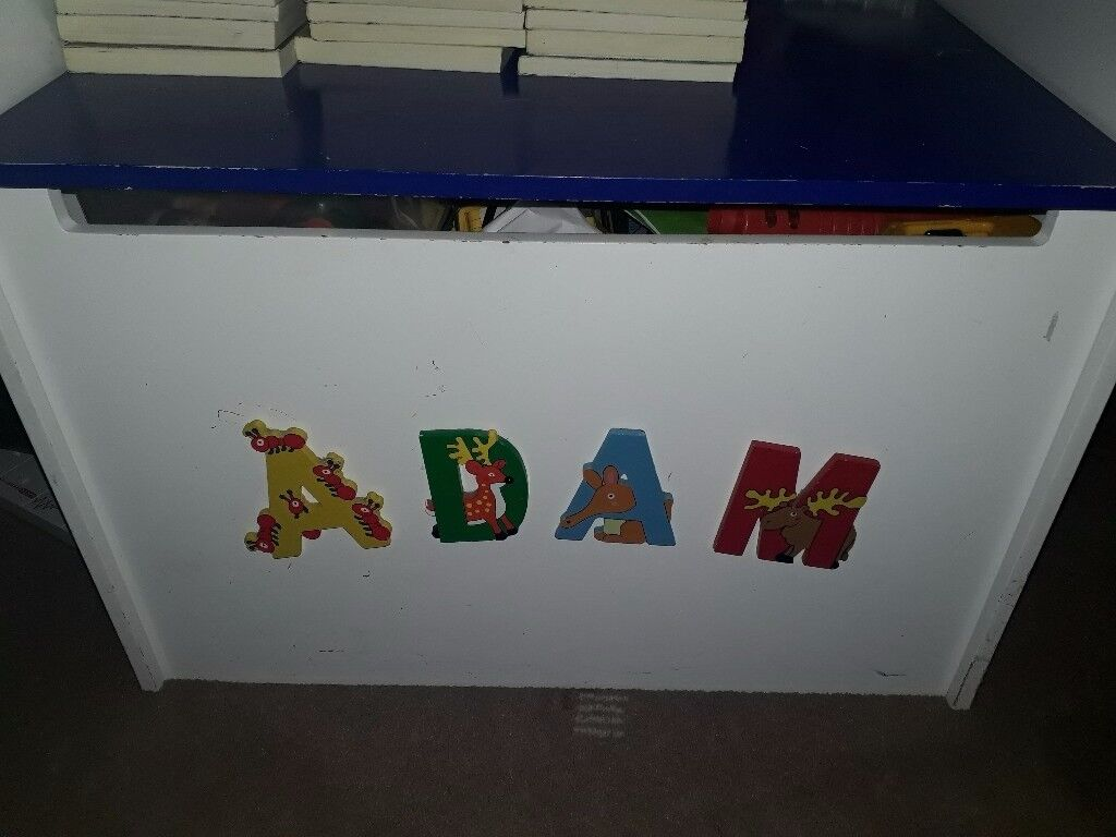 Toy Box with the name Adam on the front