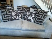 WYVERN LIGHT BEIGE CORD SOFA WITH FREE DELIVERY.