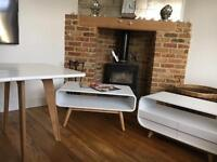 Set of 3. Media unit, coffee table and dining table.