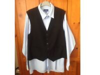 Mens Blue Shirt with Black Waistcoat