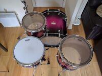 Mapex Saturn III drum kit in Berry Burst 24x20, 12x9, 16x16 + 14x8 snare