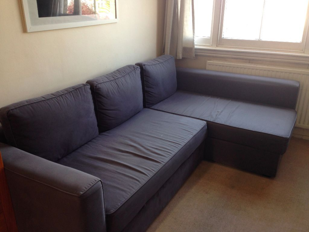 L shaped ikea manstad sofa bed for sale blue grey reduced for Blue couches for sale