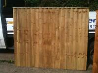 5' high x 6' wide Tanalised Vertilap Closeboard Fence Panels