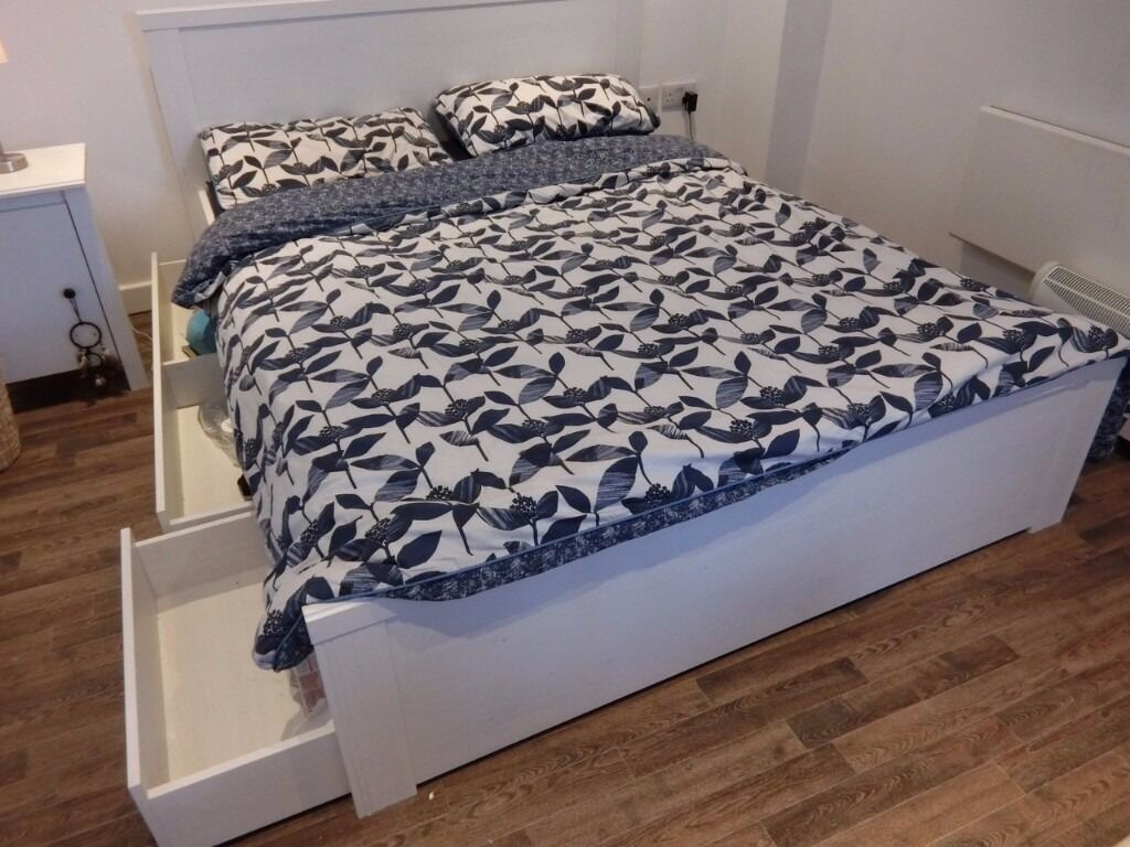 brusali bed frame with 4 storage boxes + mattress in king size