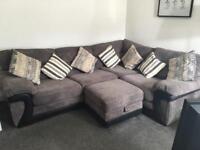 DFS Mawson Corner Sofa with Storage Footstool and Cuddle Chair with halfmoon