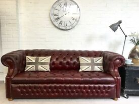 Classic button base vintage Chesterfield sofa. Can deliver