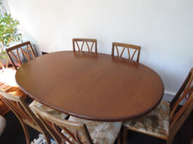 Teak G Plan dining tables and 6 chairs