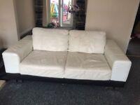 Csl white italian leather 3 seater sofa