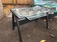 Glass and metal computer desk / table