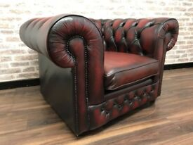 Oxblood Leather Chesterfield Club Chair
