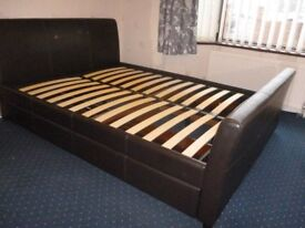 Kingsize faux leather bed