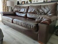 4-seat brown real leather sofa (M&S) with arm storage