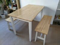 Chiltern Oak and Cream Dining Table with Two Benches