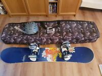Burton Feather Snowboard size 148cm complete with Burton Stiletto bindings and 'gold' stud stomp pad
