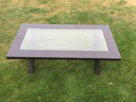 Black Leather Coffee Table with Glass Top