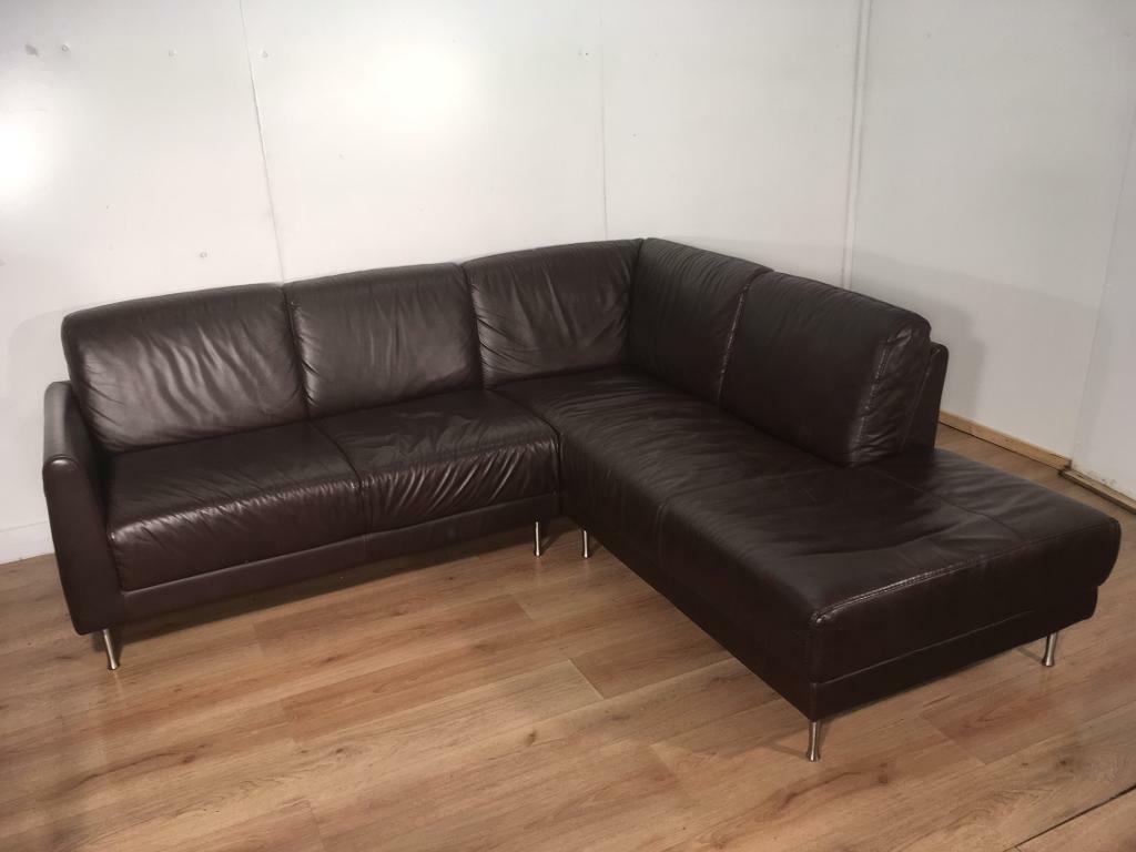 Brown modern real leather corner sofa with free delivery within 10 miles