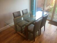 Next brooklyn dining table & 4 Next leather chairs