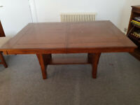 Hardwood dining table with 8 chairs