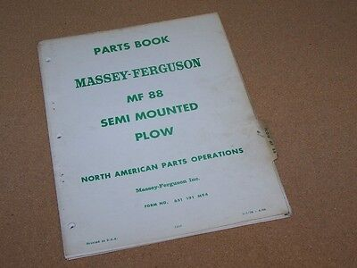 No. 88 Semi Mounted Plow For Massey Ferguson Mf Tractor Parts Book Manual