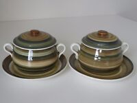 Pair of vintage Rumney Pottery, Cardiff, lidded bowls