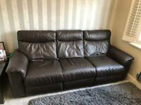 DFS furniture 3-seater brown real leather sofa