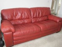 Three Seater Leather Sofa / Settee in Excellent Condition (2 Available)