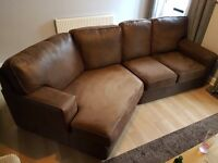 Large 3 seater brown Nubuck leather sofa. Excellent condition.