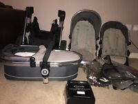 Icandy double pushchair with carry cot