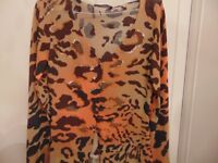 Angelo Marani twin set .Tiger print ,brown, orange and beige