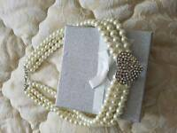 Pearl Necklace with Bling Heart Centre