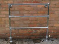 Heated towel rail/radiator, chrome finish, 38in x 37in high, 0.5in BSP