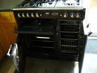 Black Rangemaster Classic 90 Duel Fuel Cooker + Hood + Splashback