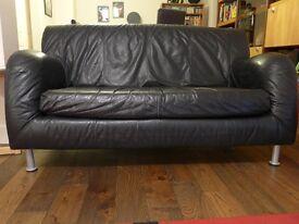 Black leather sofa (loveseat)