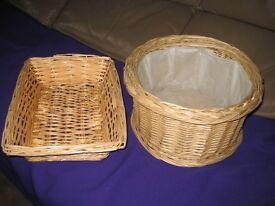Two Medium-size Wickerwork Baskets for £4.00