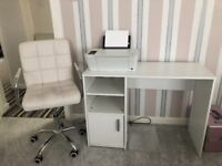 White wooden desk and matching office chair