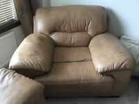DFS second hand immaculate condition 3 piece 2piecs and single sofa caramel colour