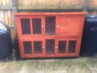 Double tier rabbit hutch and run for sale