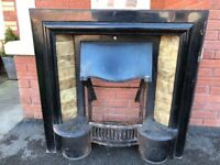 Tiled Cast Iron Fireplace / Fire Grate / Vintage Fire Place / Fire surround