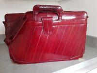 1980s Vintage Burgundy Eel Skin Drop Handle Slim Briefcase Business Career Portfolio