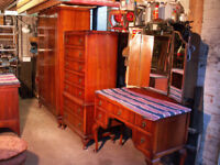 Bedroom suite: dressing table. chests of drawers & wardrobe