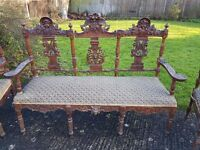 Unique Flemish antique bench & chairs
