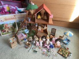 Sylvanian Families -Treehouse -Fashion Boutique- Bike -Bedroom Set -Hedgehog & 2 other families