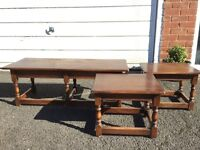 Vintage set of 3 solid oak nest of tables. Priced for sell. £50