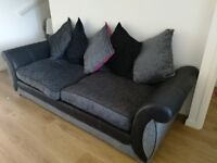 Black, grey, pink sofa