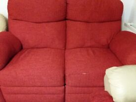 Red fabric recliner sofa for sale