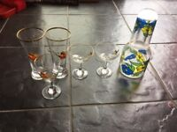Babycham and famous grouse glasses